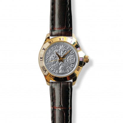 Tanner Watch With Silver Coin & Brown Leather Strap