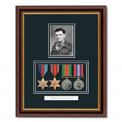Mahogany & Gilt WWII Tribute To Hero Frame With Medals & Photograph