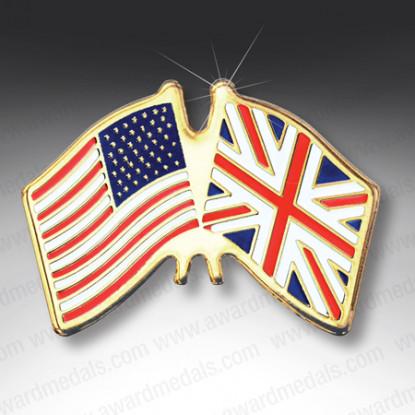 UK & USA Flags Lapel Badge