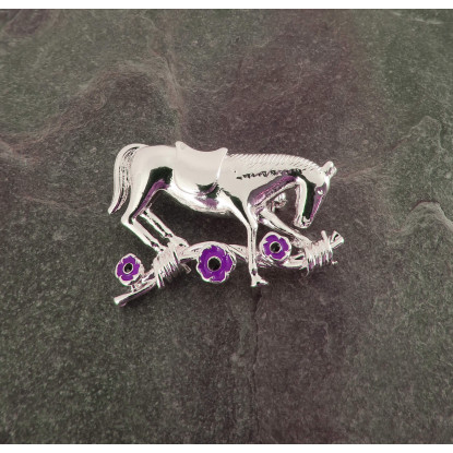 Purple Poppy War Horse Brooch