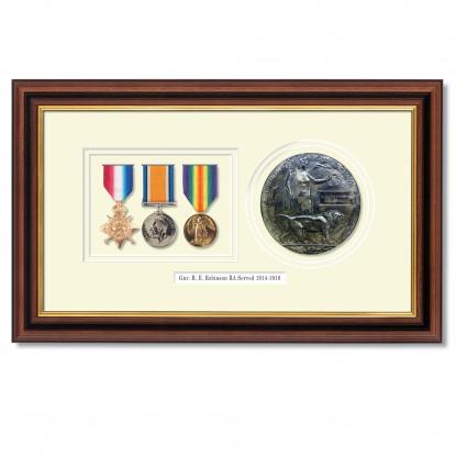 Set of 3 WW1 Medals and Memorial Plaque Framed