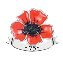 Wild Poppy With Banner 75th Anniversary Pin