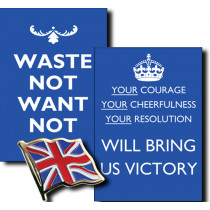 2 WWII Posters & FREE Union Jack Flag Lapel Badge