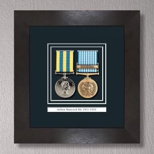 Black Stain Medal Frame for 2 Medals