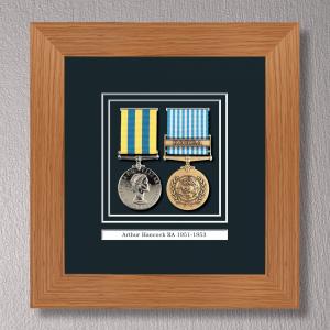 Light Oak Medal Frame for 2 Medals