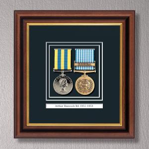 Mahogany & Gilt Medal Frame for 2 Medals