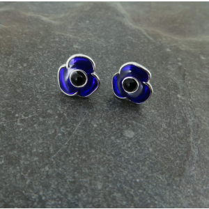 Purple Poppy Stud Earrings