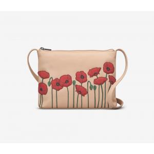 Poppy Flower Leather Cross Body Bag