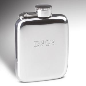 Engraved 4oz Pewter Hip Flask