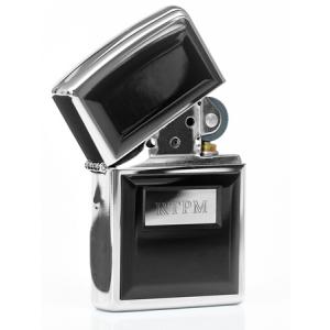 Engraved Black Panel Zippo Lighter