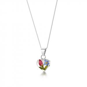 Shrieking Violet Rose & Forget-me-not Heart Pendant