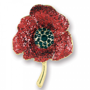 Glitter Finish Poppy Brooch