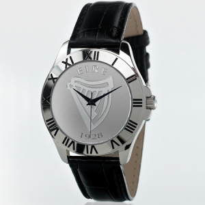Mens Irish Black Leather Patriot Watch