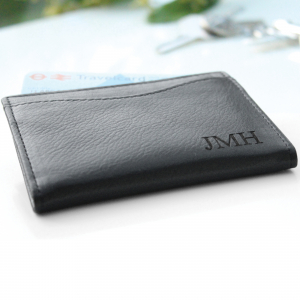Leather Card Holder with Initials