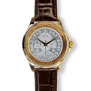Lifestyle Coinwatch with Florin, Gold Case, Tan Strap
