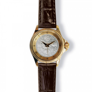 Lifestyle Coinwatch with Sixpence, Gold Case, Tan Strap