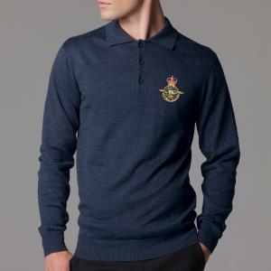 Personalised Long Sleeved Arundel Navy Polo Shirt
