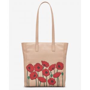 Poppy Flower Leather Shopper Bag