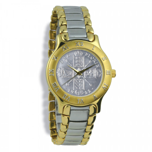 Summit Coinwatch, Gents, Gold Case, 2-Toned Bracelet, Silver Coin