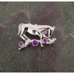 Purple Poppy War Horse Brooch