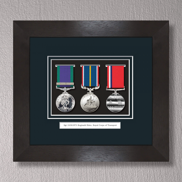 Black Stain Medal Frame for 3 Medals