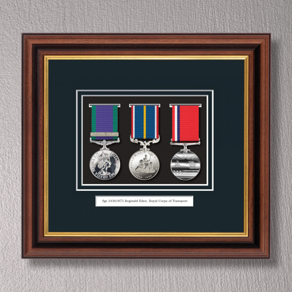 Mahogany & Gilt Medal Frame for 3 Medals