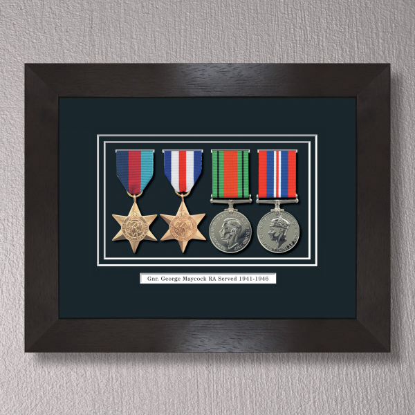 Black Stain WWII Tribute to a Hero Frame With Medals