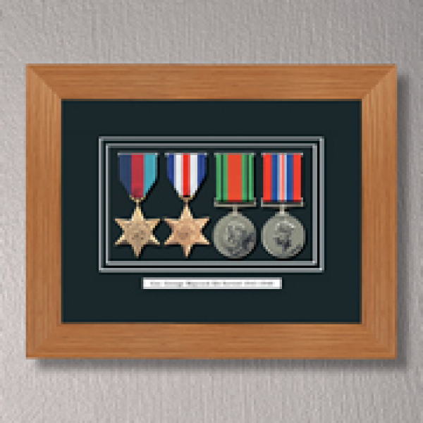 Light Oak WWII Tribute to a Hero Frame With Medals