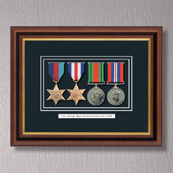 Mahogany & Gilt WWII Tribute to a Hero Frame with Medals