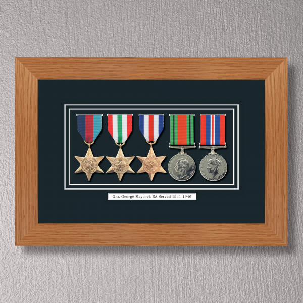 Light Oak Medal Frame for 5 Medals