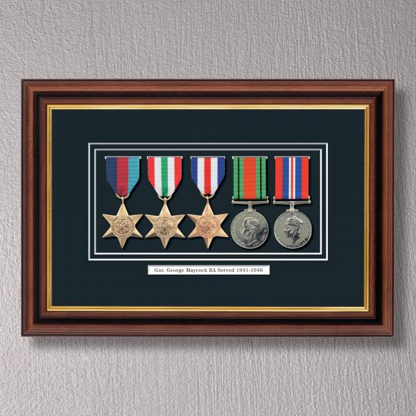 Mahogany & Gilt Medal Frame for 5 Medals