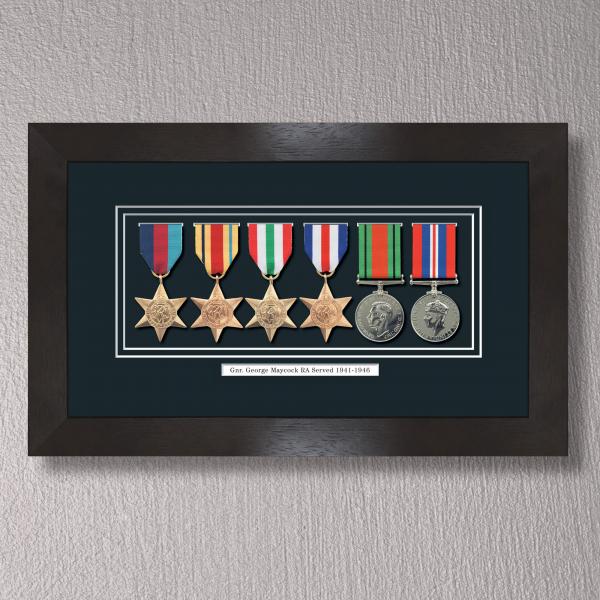 Black Stain Medal Frame for 6 Medals