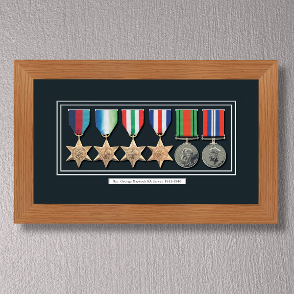 Light Oak Medal Frame for 6 Medals