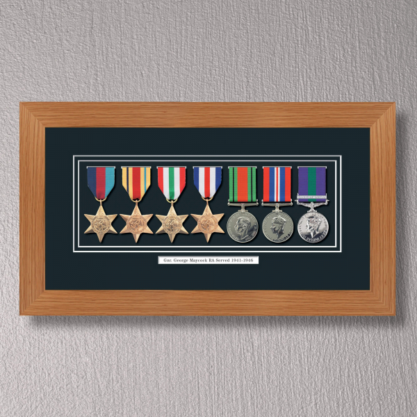 Light Oak Medal Frame for 7 Medals