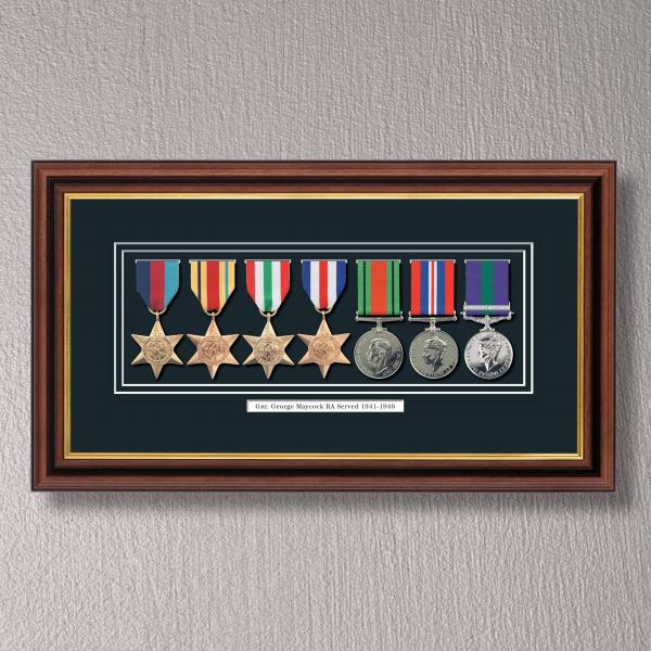 Mahogany & Gilt Medal Frame for 7 Medals
