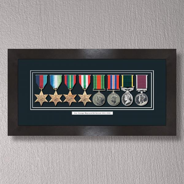 Black Stain Medal Frame for 8 Medals