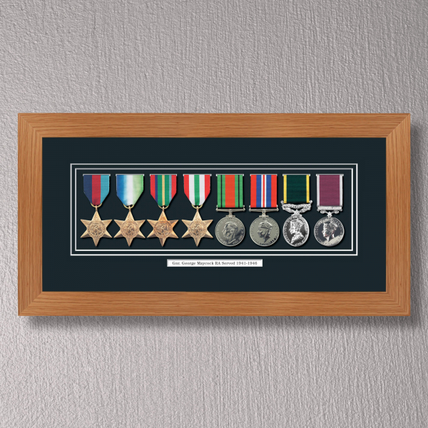 Light Oak Medal Frame for 8 Medals