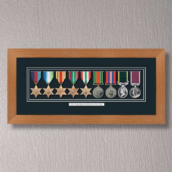 Light Oak Medal Frame for 9 Medals