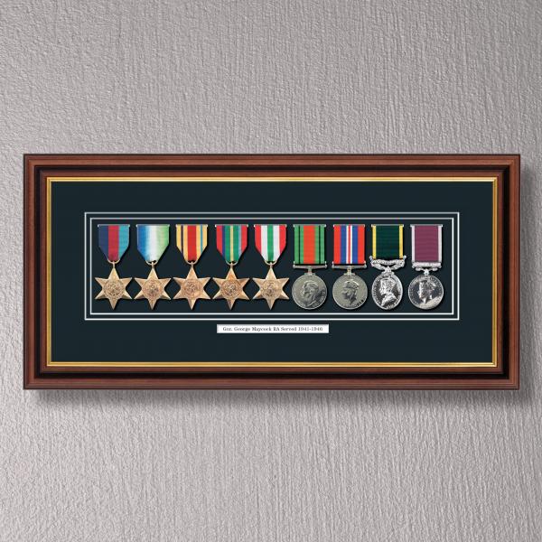 Mahogany & Gilt Medal Frame for 9 Medals