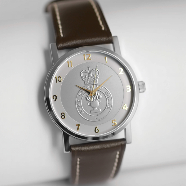 MILITARY WATCH BROWN STRAP    SILVER EMBLEM