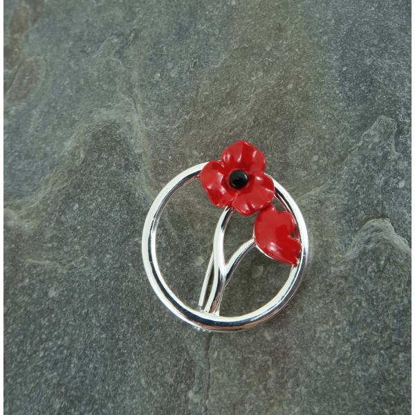 Silver Plated Red Poppy Brooch