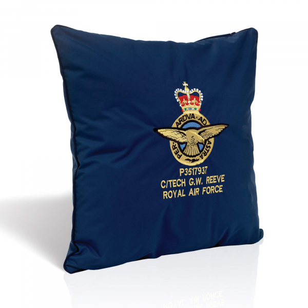 Navy Blue Embroidered Cushion