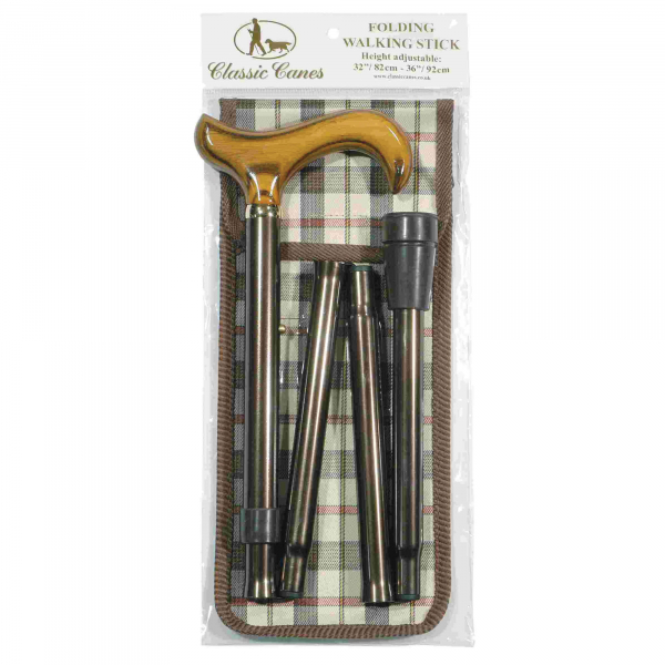 Brown Folding Walking Stick & Carrying Wallet
