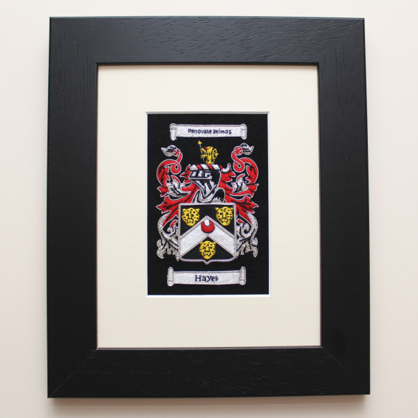 Embroidered Coat of Arms with Black Stain Frame
