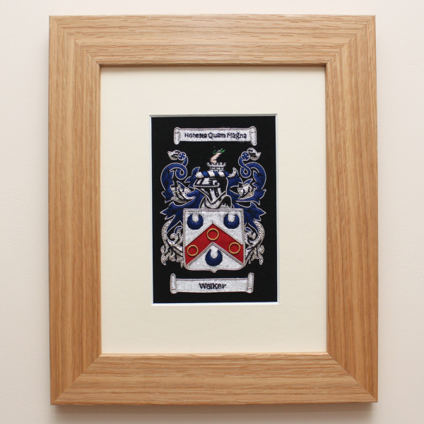 Embroidered Coat of Arms with Light Oak Frame