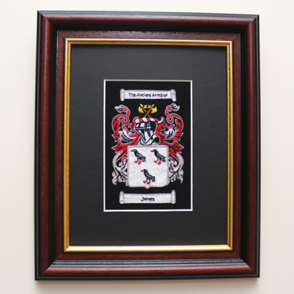 Embroidered Coat of Arms with Mahogany & Gilt Frame