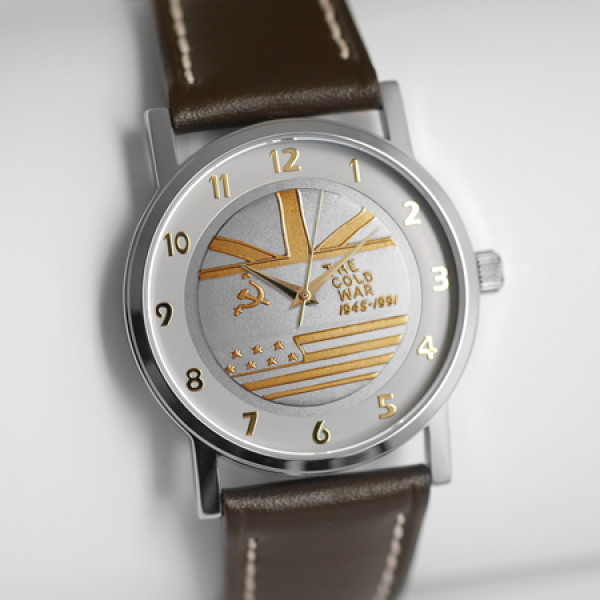 Medalwatch with Brown Strap & Two-tone Dial