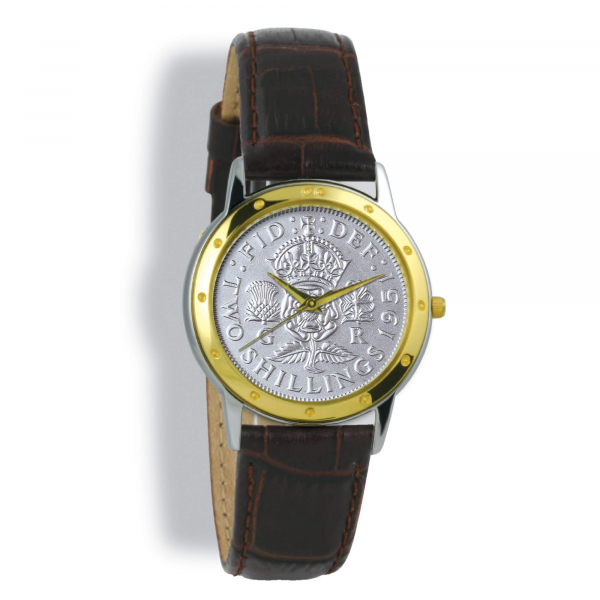 Contemporary Gents, Tan Leather Strap, Silver Florin