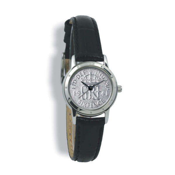 Contemporary, Ladies, Silver Case, Black Leather Strap, Silver Coin