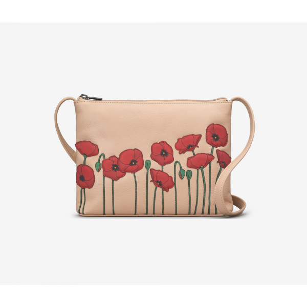 Poppy Flower Leather Cross Body Bag